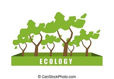 ecologia, conceito, com, polígono, árvore, experiência.