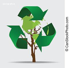 ecologia, concept., albero, simbolo, vettore, riciclare, verde, pensare