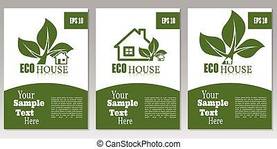 ecologia, concept., house., relazione, coperchio, volantini, opuscolo, set, sagoma, verde, o, affari, disegno, vector.