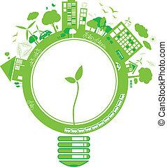 ecologia, disegno, concetti