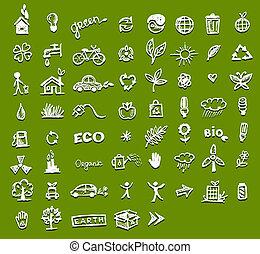 ecologia, disegno, tuo, icone