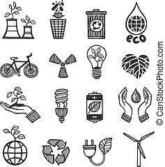 ecologia, e, desperdício, ícones, jogo