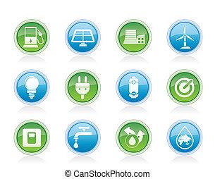 ecologia, energia, poder, ícones