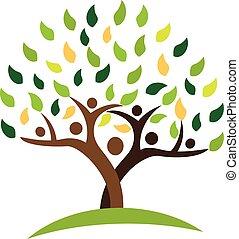 ecologia, família, pessoas, árvore, leafs., verde, logotipo