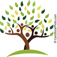 ecologia, famiglia, persone, albero, leafs., verde, logotipo