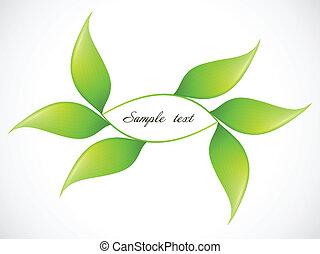 ecologia, folha, quadro, vetorial, verde, concepts.