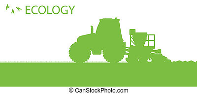 ecologia, fondo, agricoltura biologica, vettore, concetto, con, trattore, e, seminatrice, piantatura, raccolti, su, uno, campo, per, manifesto