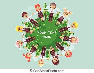 ecologia, fundo, danças, crianças, ficar, estilo, liderar, roundelays, segurando, círculo, apartamento, azul, ilustração, capim, árvores, caráteres, mãos, caricatura, arbustos, proteção, conduzir, vetorial