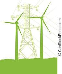 ecologia, gerador, torres, alto, vetorial, verde, voltagem,...