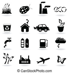 ecologia, icona, set
