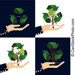 ecologia, illustration., concept., albero, simbolo, vettore, riciclare, verde, pensare