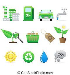 ecologia, jogo, ícone