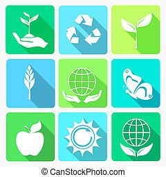 ecologia, jogo, ícones
