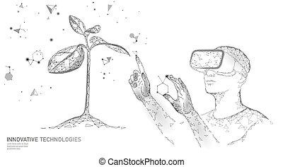 ecologia, moderno, vr, casco, dna, concept., realtà, innovazione, pianta, natura, illustrazione, glasses., gmo, evoluzione, organico, technology., scienza, medico, ingegneria, vettore, gene, augmented
