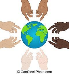 ecologia, mostrando, relacionamento, concept., paz, unity., ilustração, desenho, day., vetorial, segurar passa, mundo, icon., seu, website.