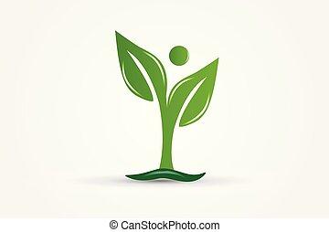 ecologia, natura, vettore, salute, mette foglie, logotipo