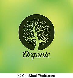 ecologia, orgânica, eco, símbolo, árvore, emblema, verde, natural, logotipo