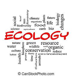 ecologia, parola, cappucci, concetto, nuvola, rosso