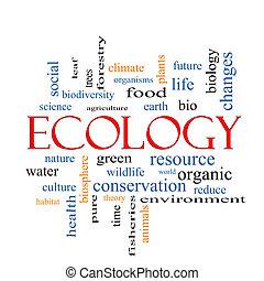 ecologia, parola, nuvola, concetto