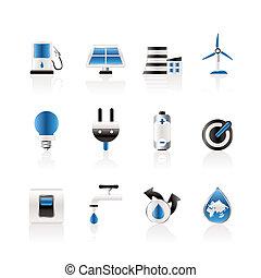 ecologia, poder energia, ícones