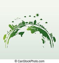 ecologia, poupar, ajuda, luz, energia, ilustração, conceito, eco-amigável, mundo, cidades, bulbo, ideas.vector