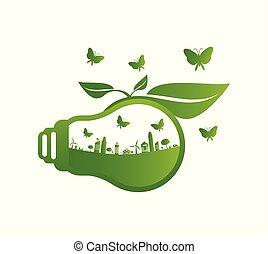 ecologia, poupar, luz, energia, conceito, ilustração, verde, bulbo, mundo