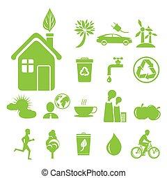 ecologia, risparmio, simboli, anti, verde, inquinamento