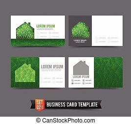 ecologia, set, affari, casa, concetto, verde, sagoma, 021, scheda