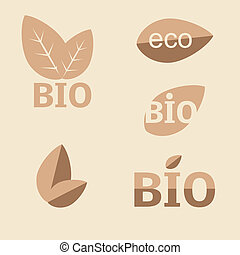 ecologia, set., icona, organico, eco-icons
