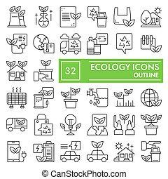 ecologia, simboli, segni, logotipo, set, isolato, ambiente, fondo, bianco, disegni, 10., lineare, eco, pictograms, linea, icona, pacchetto, collezione, eps, vettore, magro, illustrazioni