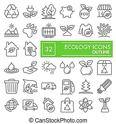 ecologia, simboli, segni, logotipo, set, isolato, ambiente, fondo, bianco, disegni, 10., lineare, natura, pictograms, linea, icona, pacchetto, collezione, eps, vettore, magro, illustrazioni