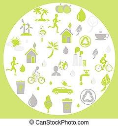 ecologia, themed, protezione, verde, segni, terra