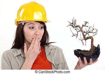 ecologia, trabalhador, estava pé, com, queimado, planta