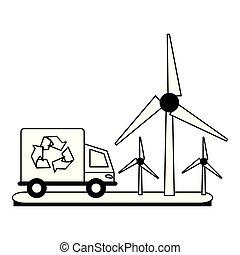 ecologia, turbinas, caminhão, pretas, branca, vento