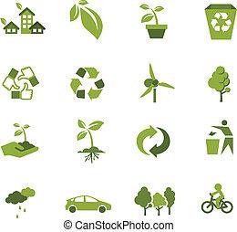 ecologia, verde, ícone
