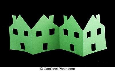 ecologia, verde, case