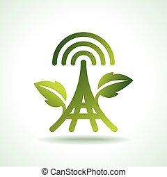ecologia, verde, icone