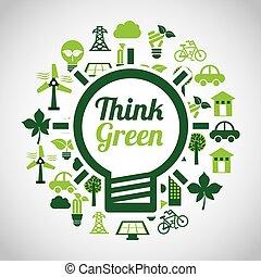 ecologia, verde, pensare, icone