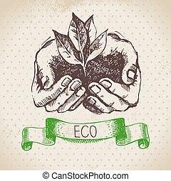 ecologia, vettore, schizzo, fondo., vendemmia, mano, disegnato