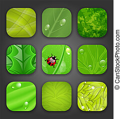 Ecologic backgrounds with leaves texture for the app icons