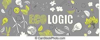 Ecologic doodles banner - Green ecologic doodles full vector...