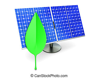 Ecologic Energy. A solar panel with a Leaf. 3D rendered...