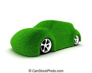 Ecologic green car isolated on white background