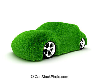 Ecologic green car isolated on white background