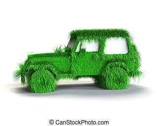 Ecologic green car with grass texture