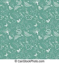 Ecologic green doodles - Seamless ecologic green doodles...
