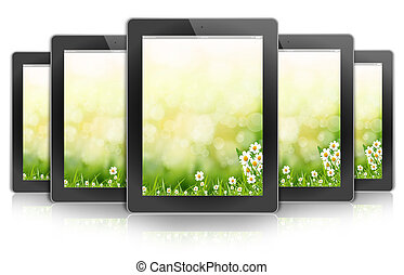 ecologic ipad design tablet PC, background bokeh flower