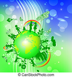 Ecological background with kids