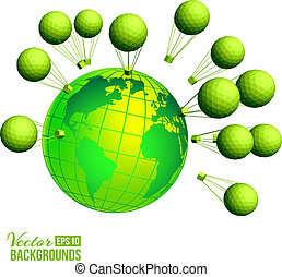 Ecological background with kids and globe