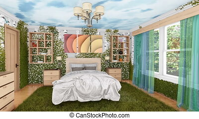 Ecological bedroom interior with green plants 4K - Healthy...
